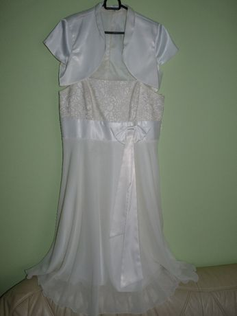 SUKNIA ŚLUBNA lub na POPRAWINY sukienka ecru rozm. 42