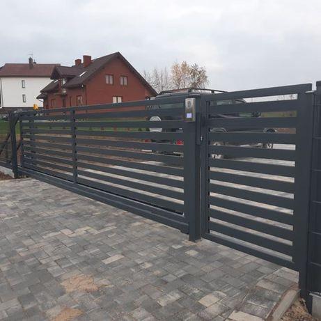 Brama przesuwna 4 m palisadowa 80 ocynkowana i malowana cały zestaw
