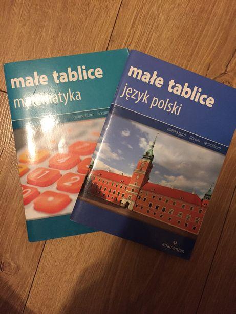 Małe tablice z j.polskiego i matematyki