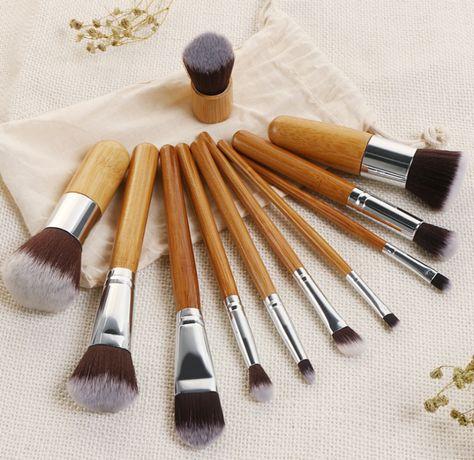 Кисти для макияжа - набор из 11х бамбуковых кисточек и мешочек