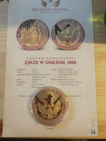Moneta platerowana zlotem zjazd w Gnieźnie