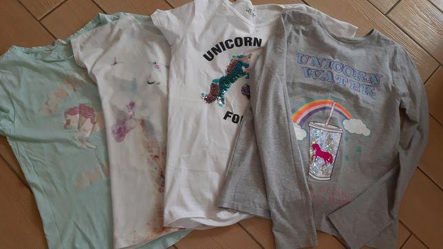 Koszulki 158/164 unicorn jednorozec koniki 5 sztuk