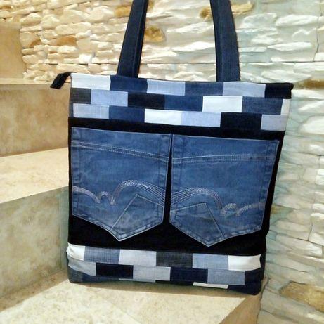 Torebka torba jeansowa dżinsowa rękodzieło (handmade upcykling)