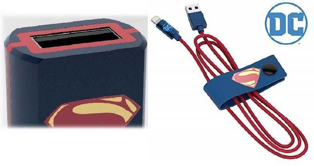 """iPhone- kabel 1.2 m + ładowarka samochodowa """"SUPERMAN"""" Tribe"""