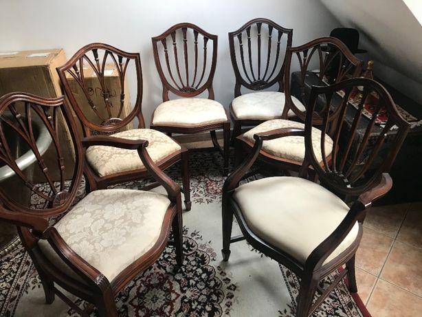 Krzesła komplet 6 szt. w tym 2 fotele z podłokietnikiem