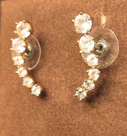 Piękne złote kolczyki cyrkonie kryształki 2,5cm