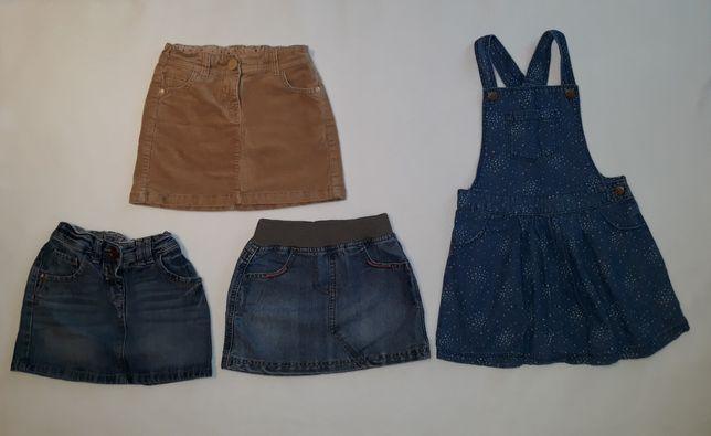 Dżinsowa spódnica 98-104 ogrodniczka, spódnica sztruksowa,Next, F&F