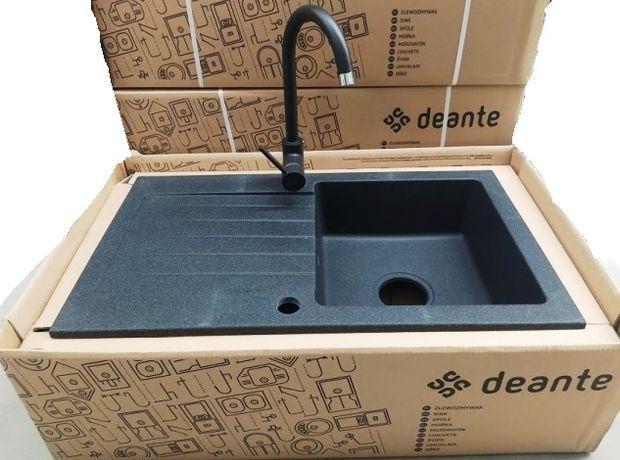 Zlewozmywak granitowy DEANTE ZQZZ 2113 Grafitowy + bateria i syfon