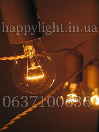 Уличная/внутренняя Ретро гирлянда, черная/белая с лампами накаливания