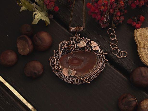 Naszyjnik, dynie, wire wrapping, miedź, pomarańczowy agat