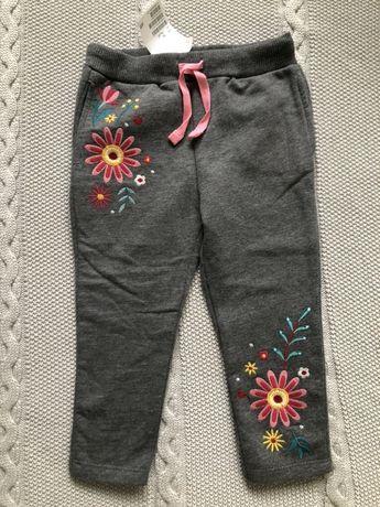 Dresy spodnie h&m 92 szare kwiaty ocieplane