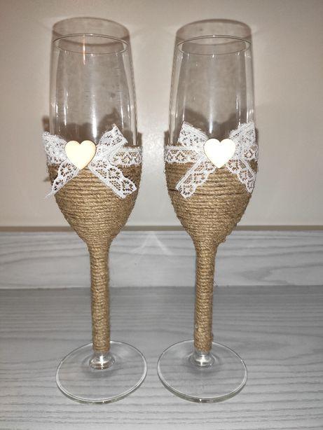 Kieliszki do szampana Para Młoda styl rustykalny, boho, vintage, ek