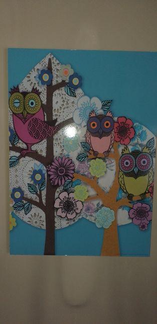Obraz duży do pokoju dziewczynki sowy stan bdb