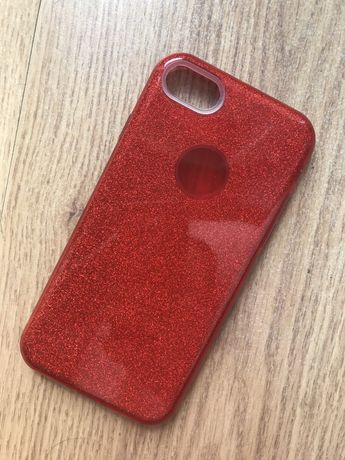 Etui iPhone 7 RED brokatowe