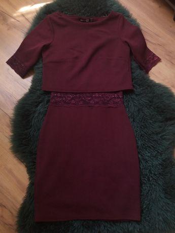 Burgundowa sukienka BooHoo