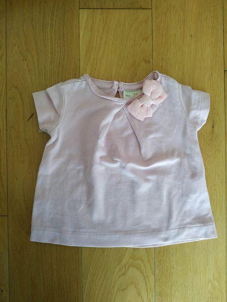 68 Zara bluzka bluzeczka różowa t-shirt kokarda