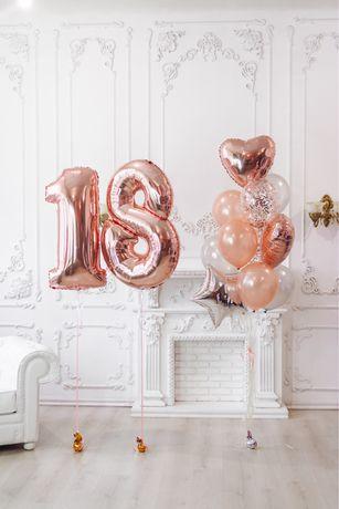 Фольгированные цифры с гелием на день рождения ,гелиевые шарики