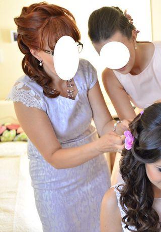 Lawendowy kostium dla matki młodej perłowy 40 L dwuczęściowy