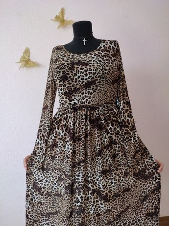 Большой размер 50-52 нарядное красивое платье Леопардовый принт