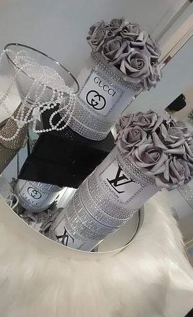 Flowebox Versace Chanel lv Gucci cekiny kryształy