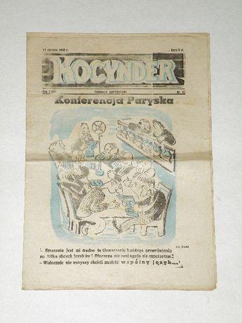 '' Kocynder '' , tygodnik satyryczny z początków PRL , Nr 43 z 1946 r.