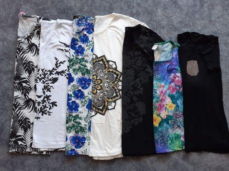 Bluzka tunika mix kwiaty floral wzór boho ornament cyrkonie M L XL XXL