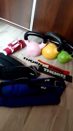 Zestaw do ćwiczeń kettleball, gumy oporowe,obciążniki na ręce i nogi