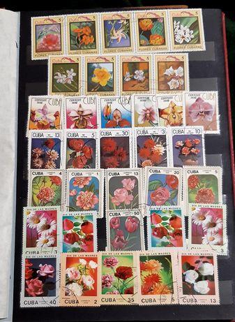 Почтовые марки флора цветы СССР Куба Монголия Вьетнам Болгария