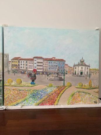 Vendo quadros pintados à mão da cidade de Barcelos 1,5m*1,2m cada um