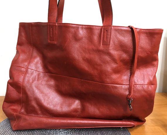 Shopper bag - skóra licowa czerwona