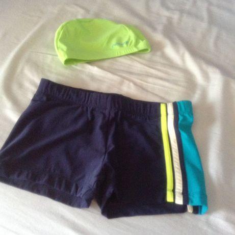 Conjunto piscina/natação-calcao rapaz + touca licra tam.11/12Anos