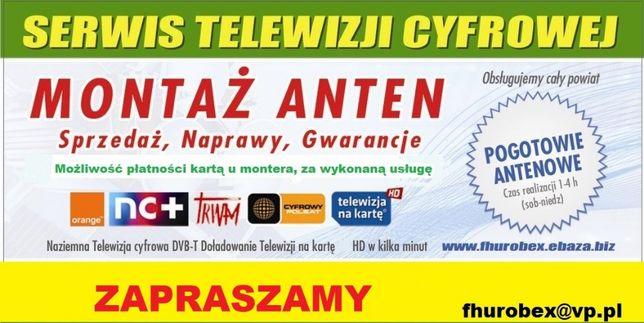 Montaż,ustawianie anten TV SAT Serwis WSCHOWA