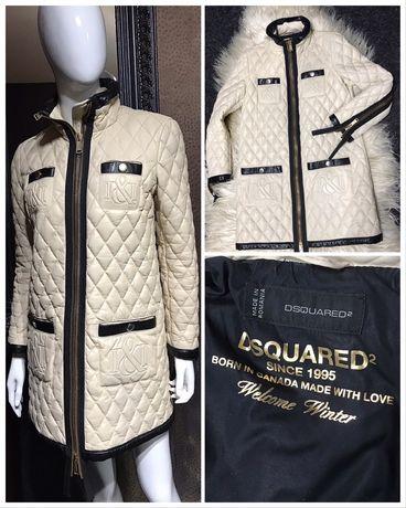 Dsquared2 оригинал пуховое пальто пуховик кожа кожаный куртка