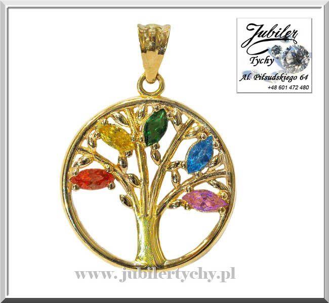 Złote drzewko szczęścia złoto 585 zawieszka drzewo życia Tree Of Life