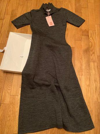 Платье вязанное серое Италия