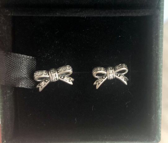 PANDORA oryginalne kolczyki wkrętki srebro pr. 925 cyrkonie