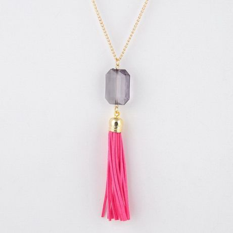 Nowy naszyjnik wisiorek łańcuszek różowy chwost chwościk boho