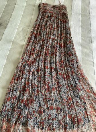 Vestido Zara comprido florido 100% seda