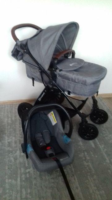 KinderKraft Moov Wózek Głęboki Wielofunkcyjny 3w1 fotelik jasno szary