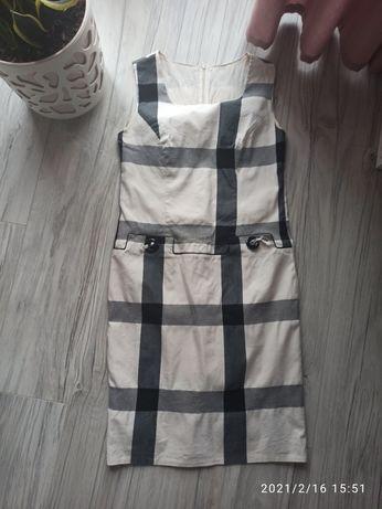Sukienka midi w kratkę rozmiar 42