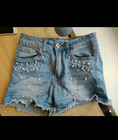 Eleganckie spodenki z wysokim stanem i koralikami ds fashion jeans xs