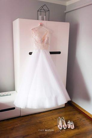 Piękna brokatowa suknia ślubna rozmiar 34/36