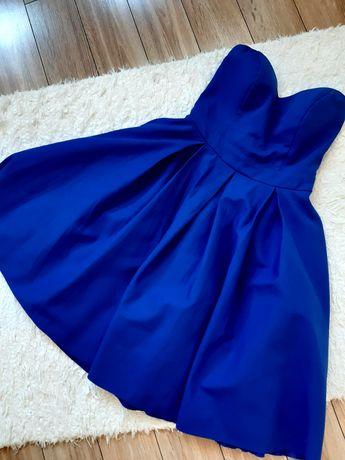 Kobaltowa sukienka bez ramiączek