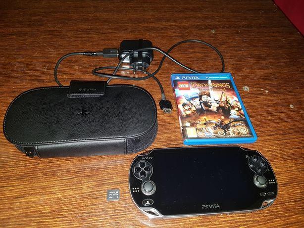 Playstation Ps Vita Oled + karta 4gb +etui + gra  Władca Pierścieni PL