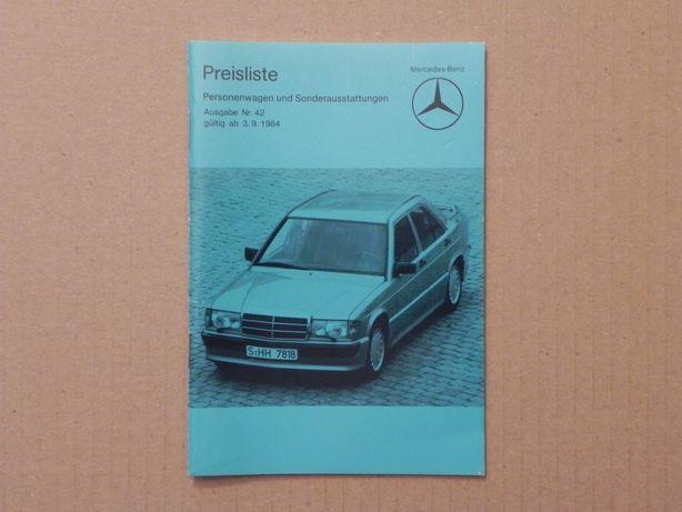 Prospekt - MERCEDES - CENNIK - 1984 r - 190 W123 W124 S W126 SL R107