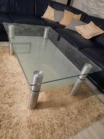Ława szklana z metalowymi nogami