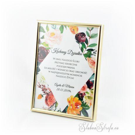 dyplom podziękowanie na ślub wesele dla rodziców chrzestnych dziadków
