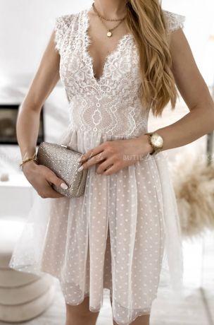 Sukienka biała beżowa koronkowa lou