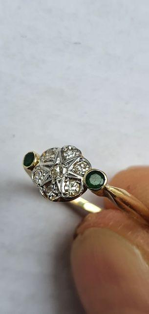 Złoty pierścionek z brylantami plat/18ct