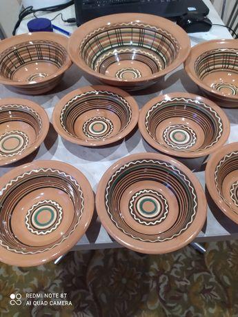 Продам набор посуды из глины ручная роспись